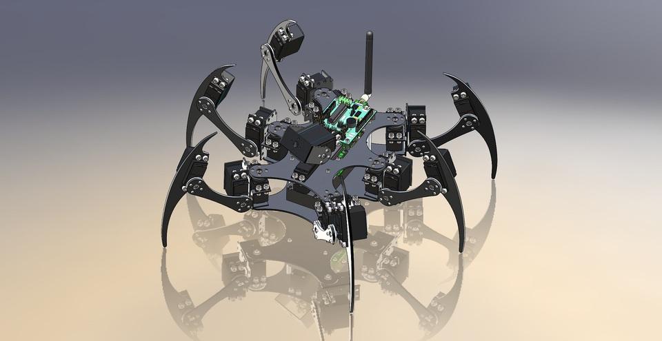 Hexapod Robot | 3D CAD Model Library | GrabCAD