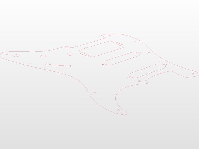 Fender Stratocaster Pickguard HSS 11 holes | 3D CAD Model