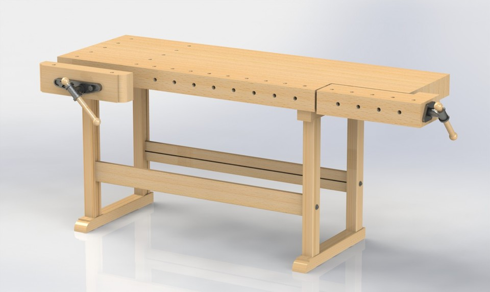 Magnificent Hh Wood Working Work Bench 3D Cad Model Library Grabcad Evergreenethics Interior Chair Design Evergreenethicsorg