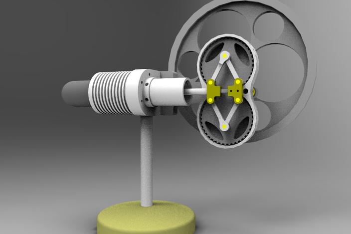 Rhombic stirling engine by julius de waal alibre design for Decor 9 stirling