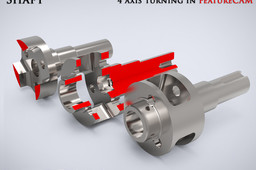 Shaft - 4 axis turning in FeatureCAM