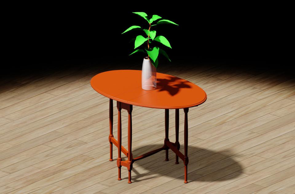 the gateleg table 3d cad model library grabcad
