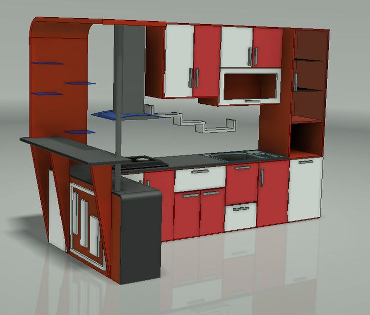 My Kitchen Set 3d Cad Model Library Grabcad
