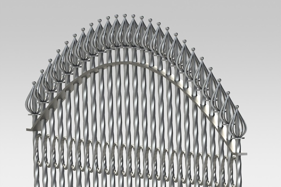 Wrought Iron Fence 1 STL SOLIDWORKS 3D CAD Model GrabCAD