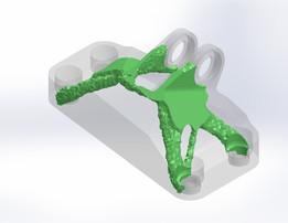 Topology Optimization of GE Bracket: 307g, FS = 2