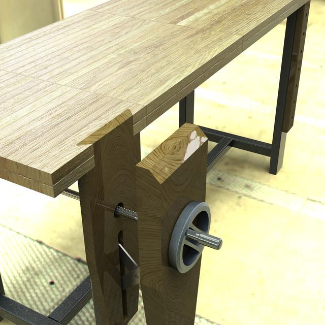 Modern Roubo Woodworking Workbench With Crisscross Scissor