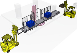 Palette Roller conveyor with shrink wrap turn roller conveyor