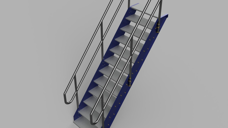 Ship Stair / Ladder | 3D CAD Model Library | GrabCAD
