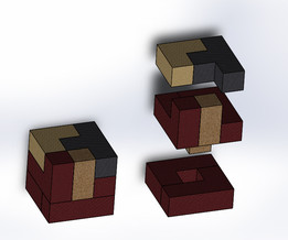 packed and exploded cube