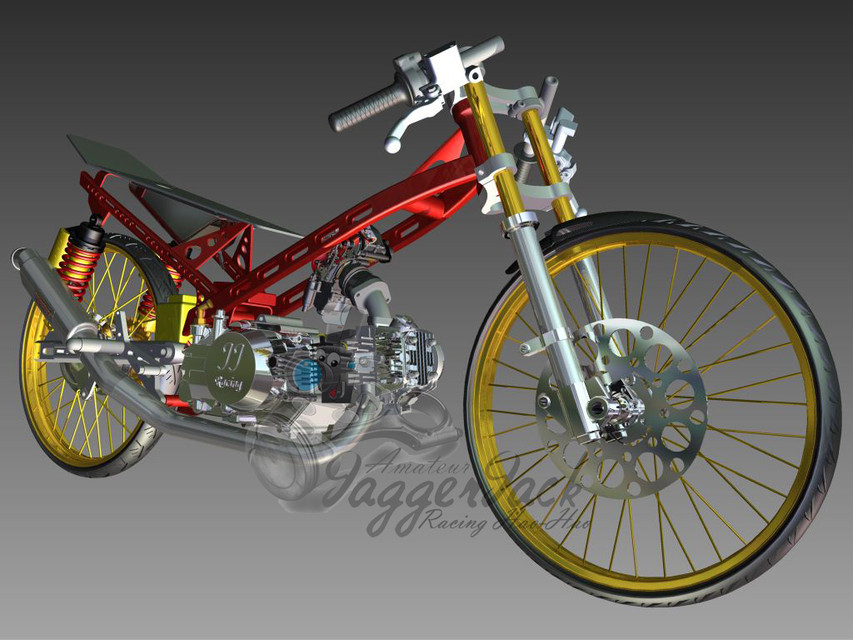 dragbike frame for cub series | 3D CAD Model Library | GrabCAD