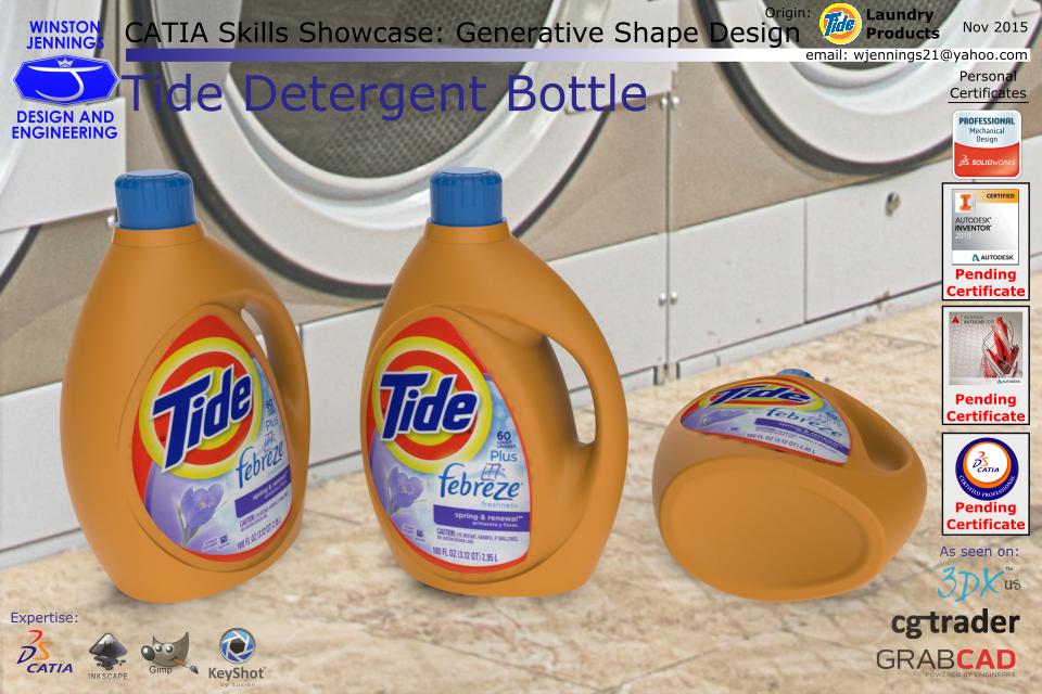 CATIA Skills Showcase - Tide Detergent Bottle | 3D CAD Model
