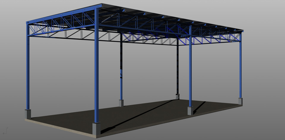 Light weight steel structure canopy step iges autocad for Steel shade structure design