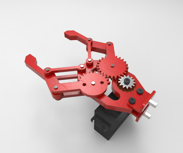 Gripper with Servo motor  | 3D CAD Model Library | GrabCAD