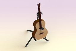 Acoustic guitar with stand