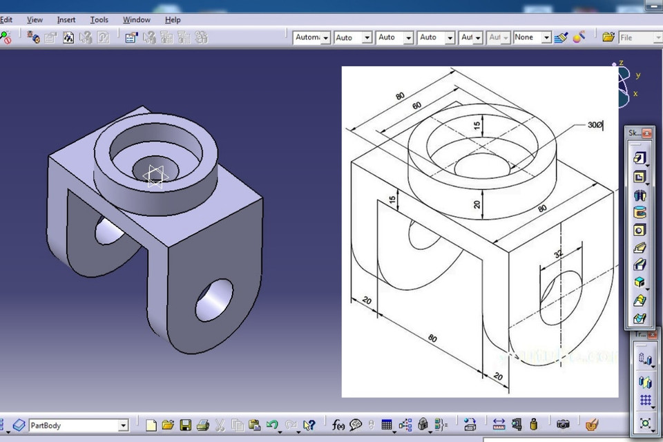 Catia V5 Basic Part Design Tutorial Exercise 1 Beginners Cadtech Mahi 3d Cad Model Library Grabcad