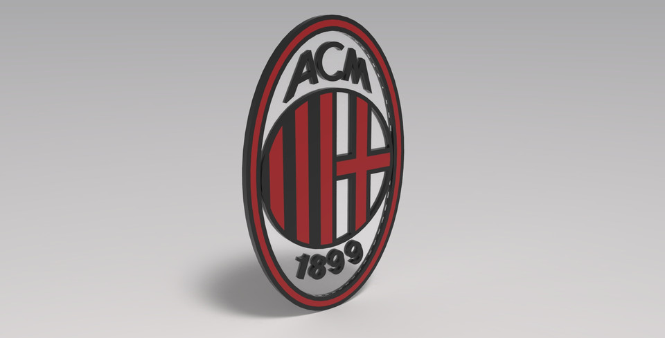Ac Milan 3d Logo And Animation 3d Cad Model Library Grabcad