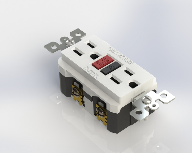 gfci wall outlet 3d cad model library grabcad GFCI Outlet Wiring