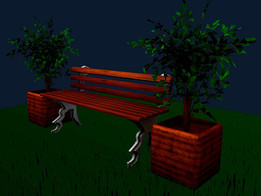 BENCH AND FLOWER POTS