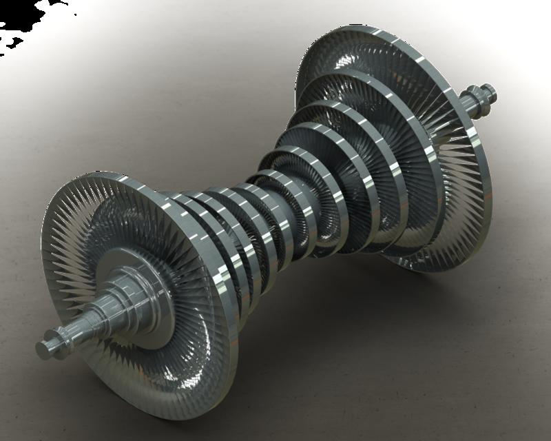 Steam turbine d cad model library grabcad