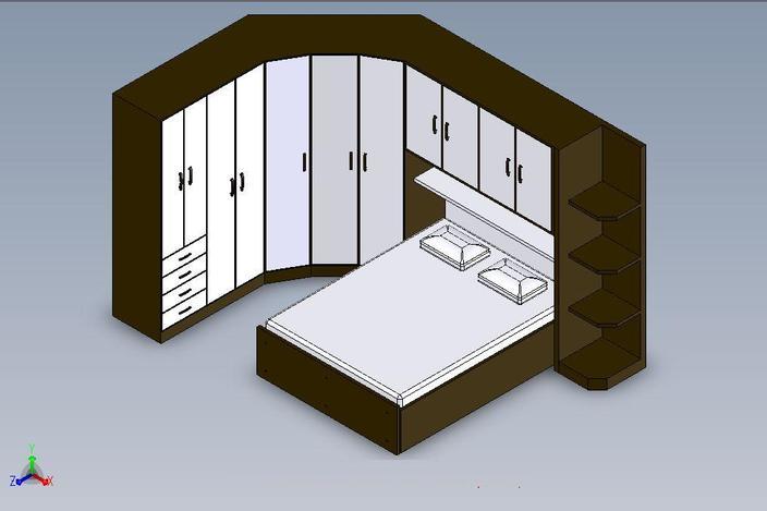 Armario cama de casal solidworks 3d cad model grabcad for Cama 3d autocad