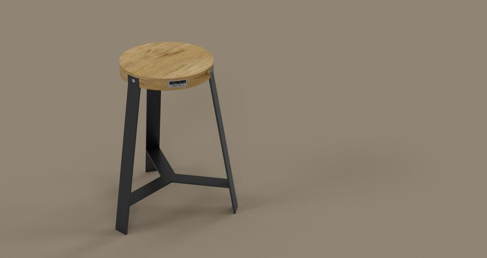 Wondrous Wood Metal Stool 3D Cad Model Library Grabcad Machost Co Dining Chair Design Ideas Machostcouk