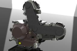 "Ducati 900cc air-cooled ""L""-twin engine"