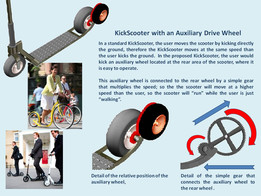 Kick and Go Scooter with Auxiliary Drive Wheel