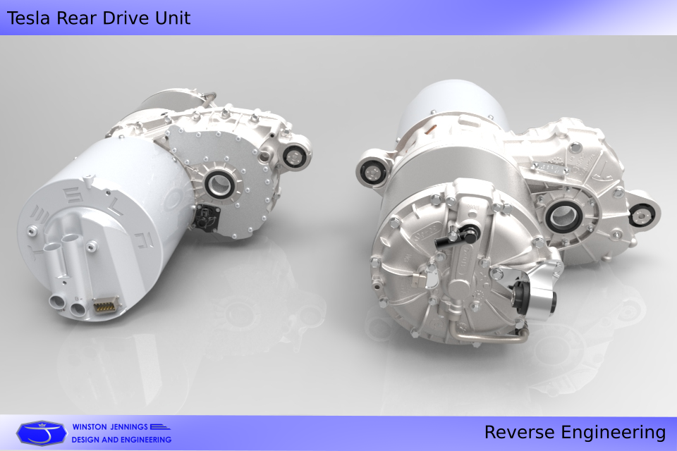 Tesla Rear Drive Unit | 3D CAD Model Library | GrabCAD