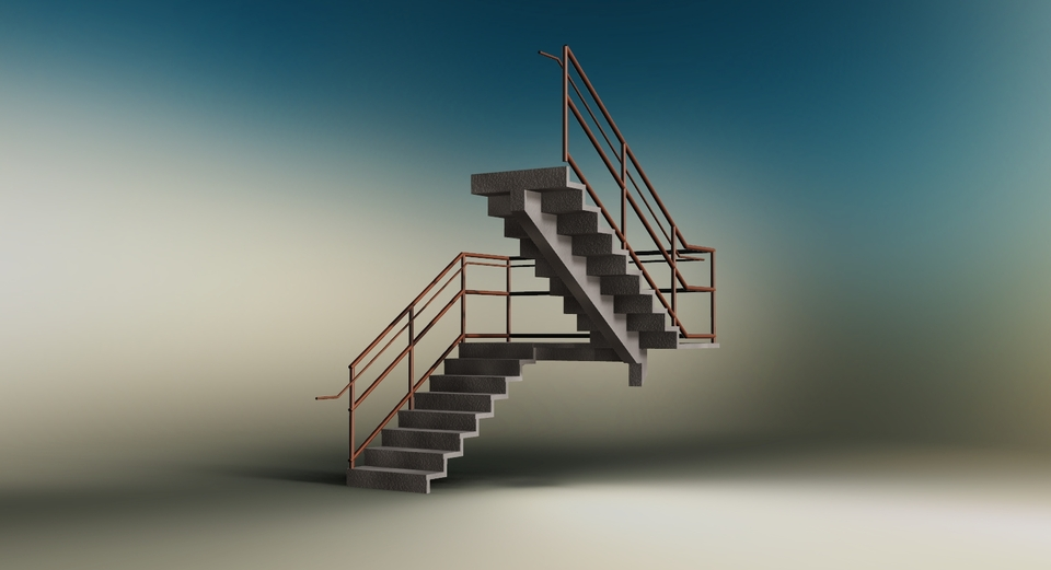 Concrete cantilever stair | 3D CAD Model Library | GrabCAD
