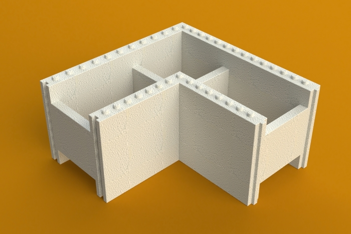 Energy saving corner styrofoam block for building for Foam block construction