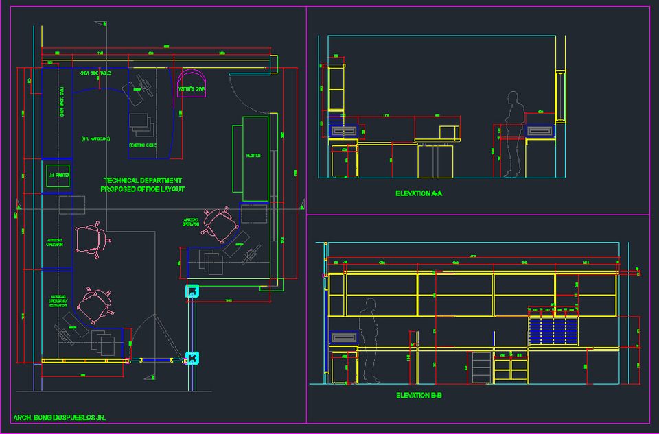 Office Layout Autocad 3d Cad Model Grabcad