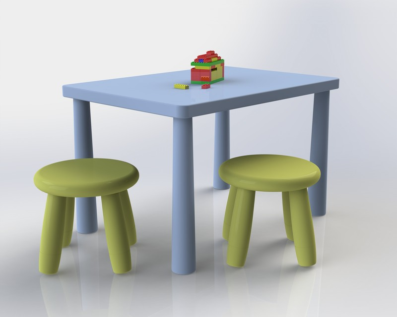 Chairs And Table Kids 3d Cad Model Library Grabcad