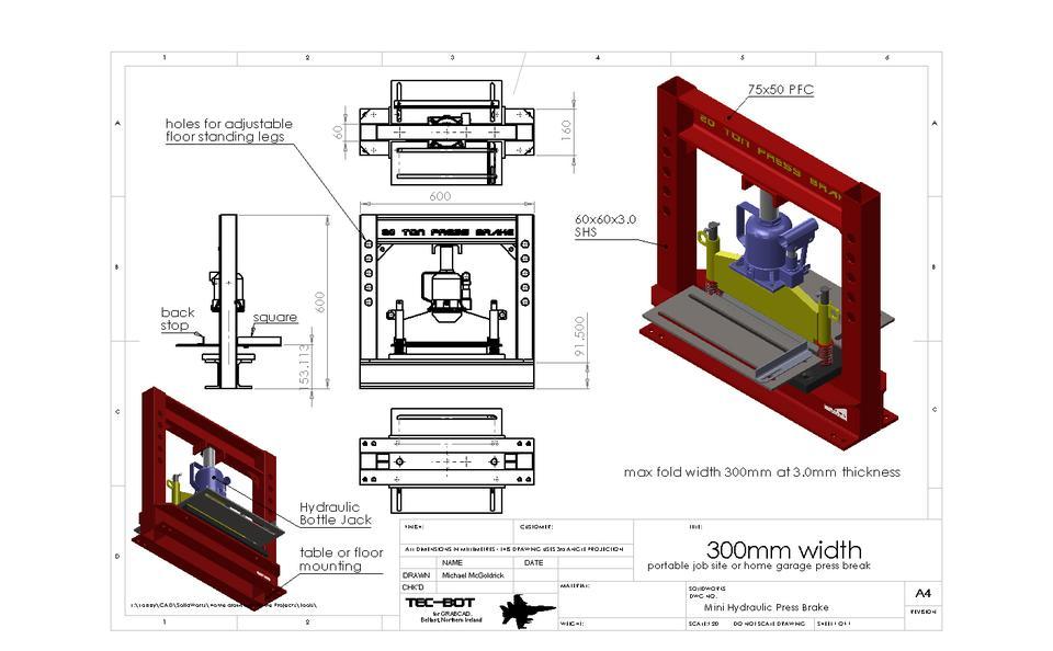 Hydraulic Press Brake - Portable | 3D CAD Model Library | GrabCAD