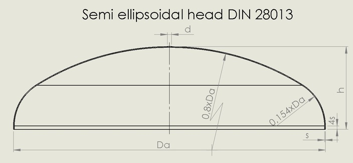 Semi ellipsoidal head DIN 28013
