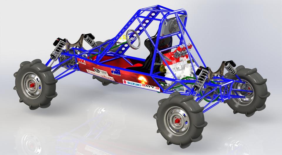 4WD single seat Hayabusa powered Dune Buggy | 3D CAD Model
