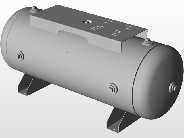 Steel ASME-Code Horizontal Compressed Air Tank with Mounting