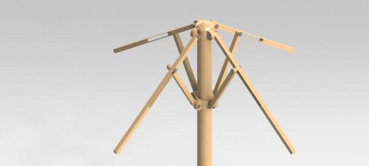 umbrella frame stlstep igessolidworks 3d cad model grabcad