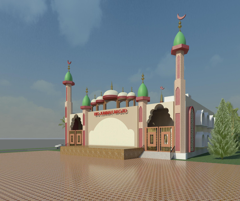 BIG JUMMAH MASJID | 3D CAD Model Library | GrabCAD