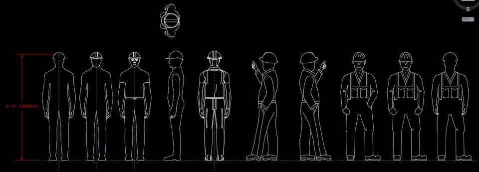 Worker Man 2D Profiles (Inventor & AutoCAD) | 3D CAD Model