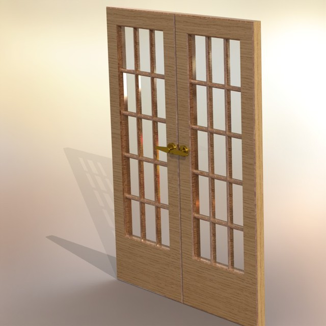 Double French Doors With Glass 3d Cad Model Library Grabcad