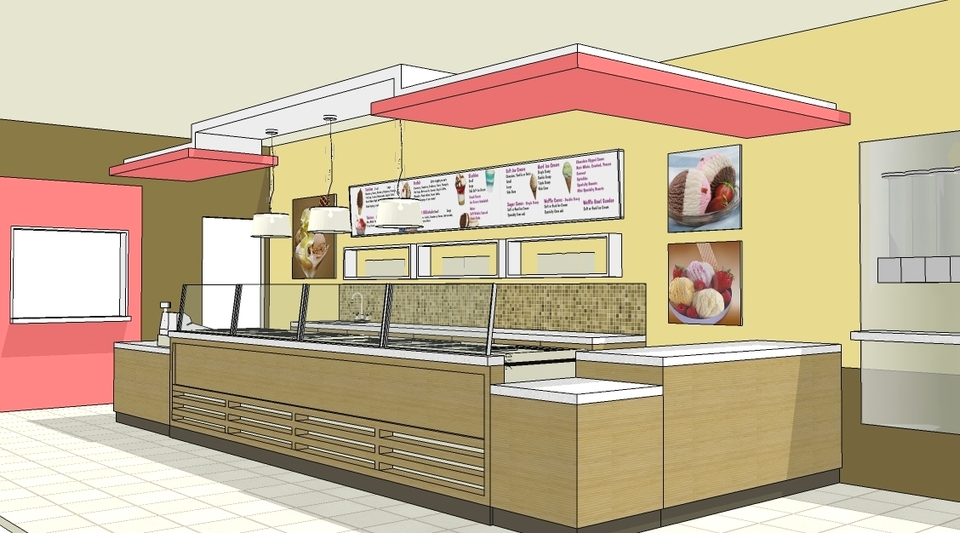Contemporary Ice Cream Shop 3d Cad Model Library Grabcad