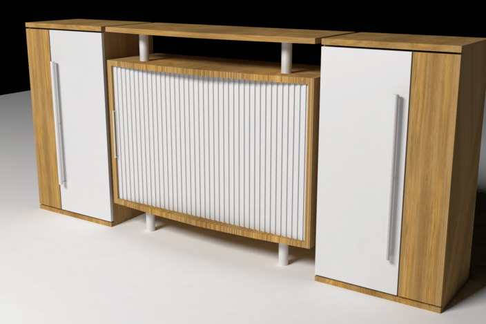 Mueble de oficina autodesk 3ds max 3d cad model grabcad for Muebles para oficina 3d max