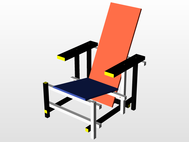 Rietveld Stuhl gerrit rietveld and blue chair 3d cad model library grabcad