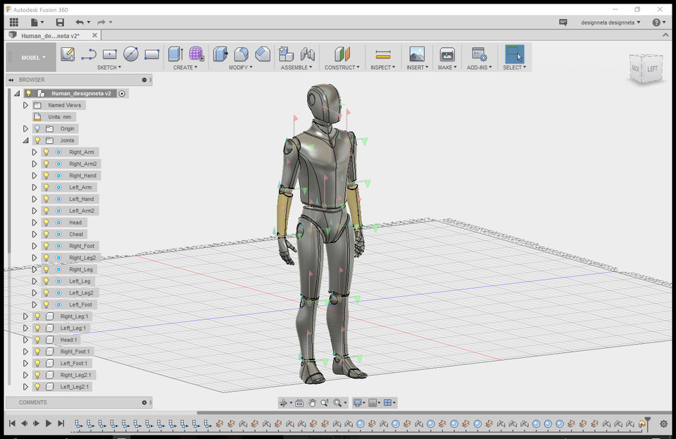 Human body model (Joints for Fusion360) | 3D CAD Model
