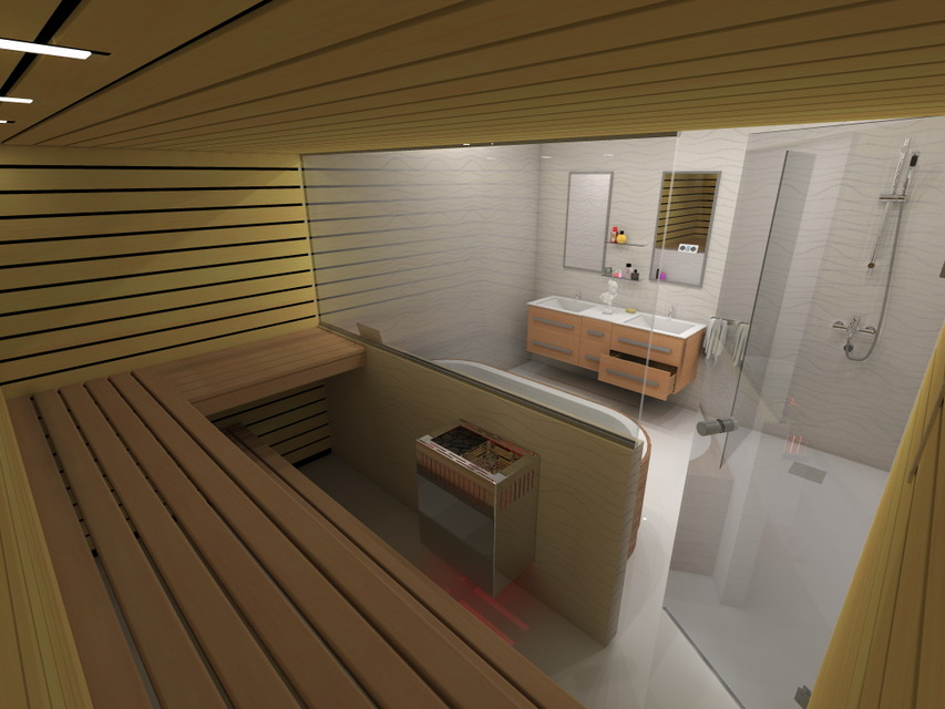Sauna And Bathroom Design   AutoCAD   3D CAD Model   GrabCAD