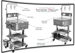 Stainless steel Infusion Trolley for Hospital