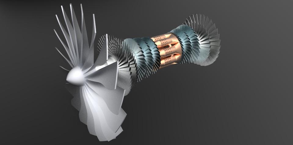 High Bypass Turbofan Jet Engine Model 2   3D CAD Model