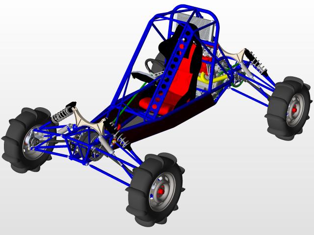 4WD single seat Hayabusa powered Dune Buggy | 3D CAD