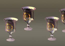 ANTIQUE DECANTER & WINE GLASSES