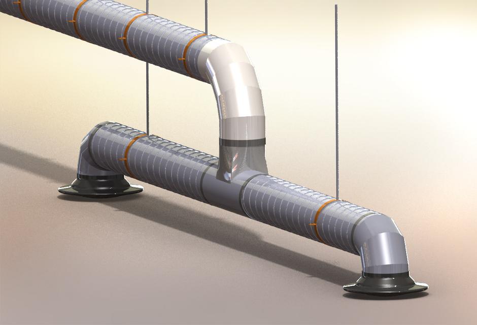 Mall, Industrial, sheetmetal air duct design w elbows